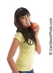 Good nutrition girl eat apple