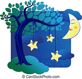 Nocturnal - Surreal landscape with trees and stars at night....