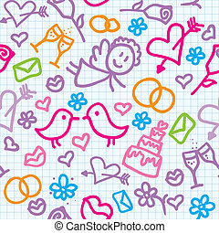wedding pattern - bright seamless wedding pattern with...