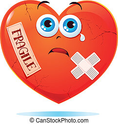 Fragile heart - Broken heart labeled fragile, vector fun