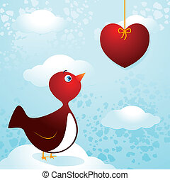 Bird in love - Cute bird in love, vector image