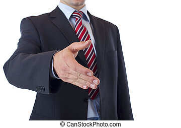 Close-up of businessman offering hand for handshake
