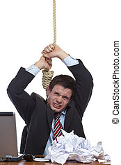 Desperate, overstrained  Business man commits suicide in office.. Isolated on white.