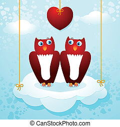Owls in love - A pair of love owls on a cloud, vector