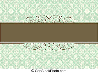 Vector Green Pastel Background and Ornamental Frame