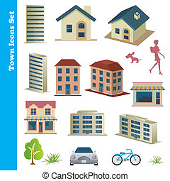 Town icons set - Illustration vector