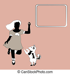 Girl and dog - Vintage pink background with sillouettes of...