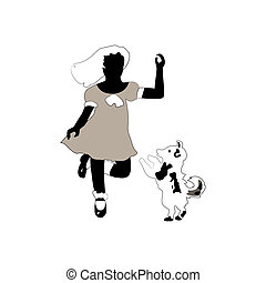 Girl and dog - Vintage sillouettes of girl and dog isolated...