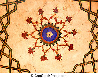 Vintage Art Design - Roof Art from the 16th Century Mughal...