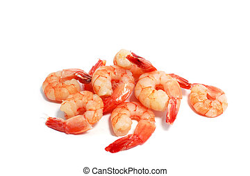 boiled shrimps - many delicious boiled shrimps on white