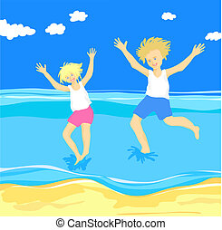 Children jumping in the sea