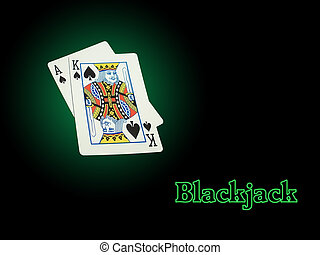 Neon Blackjack - Ace of Spades and King of Spades on a green...