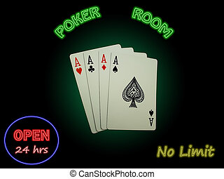 Four Aces In The Poker Room - Four Aces spotlighted against...