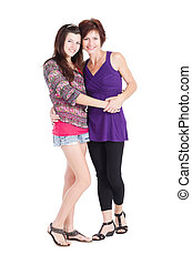 teen girl and mother portrait - happy teen girl and mother...