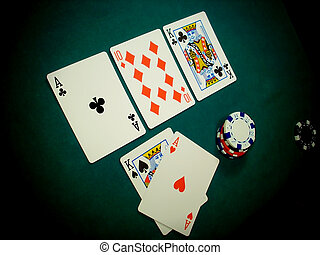 Texas Hold Em - Flop Angled View - Angled view of a TEXAS...