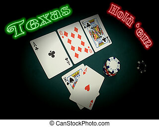 Neon Texas Hold Em - A TEXAS HOLD EM hand is spotlighted in...