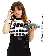 Young beautiful woman in glasses with a book isolated on...