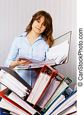 Female accountant and financial documentation - Female...