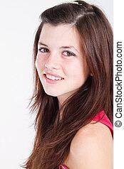 teen girl - happy teen girl isolated on white