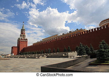 Lenin Mausoleum and Kremlins tower at Red Square in Moscow,...