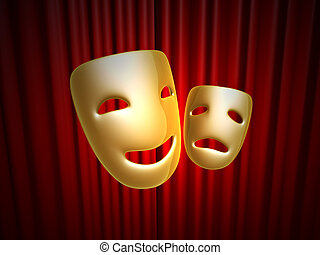 comedy and tragedy masks over red curtain - golden comedy...