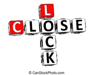3D Lock Close Crossword on white background