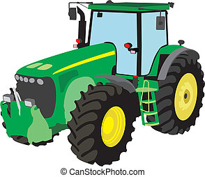 Tractor - Green tractor separately on a white background