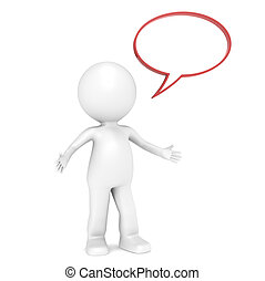 Speak. - 3D Little Human Character with Speech Bubble for...