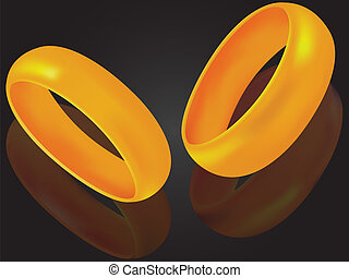 Wedding rings a symbol of love on a background with...