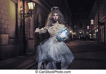 Stylish woman catching thunderbolts