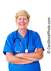 Happy senior nurse standing with hands folded