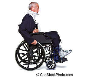 Injured man in wheelchair isolated