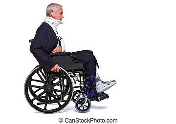 herido, hombre, sílla de ruedas, aislado