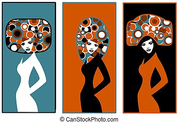 pop art - Stock Photo: Illustration of three silhouettes of...