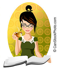 morning tea - Stock Photo: Illustration of an intellectual...