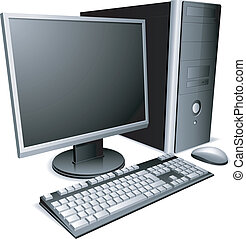 Desktop computer. - Desktop computer with lcd monitor,...