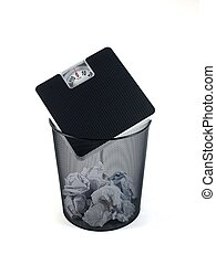 Trash Bin - A trash bin isolated against a white background