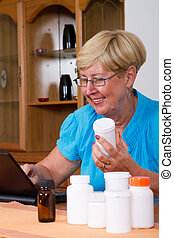 senior woman buying medicine online
