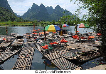 River Yulong - Rafts on the river Yulong, China