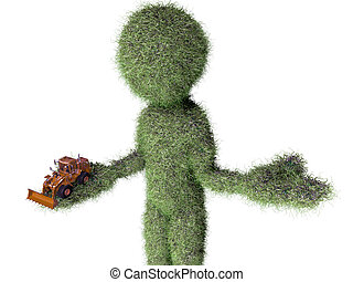 grass man with buldozer toy
