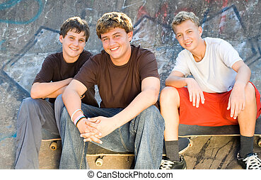 group of teen boys outdoors