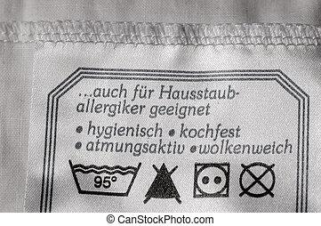 Washing label tag grey