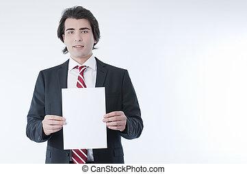 Businessman holdind an empty advert - Businessman holding an...