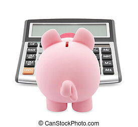 Piggy bank and callculator