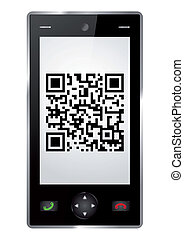 Handy with QR Code isolated
