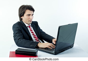 Young businessman browsing the internet