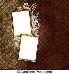 Golden frame over vintage striped wallpaper and floral elements