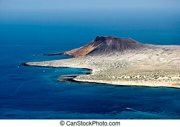 View of Isla Graciosa off the coast of Lanzarote