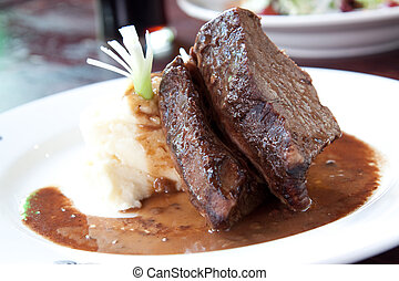Pot Roast - Thick and juicy pot roast Served with Irish...