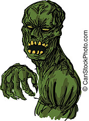 Scary undead zombie illustration - Scary undead animated...